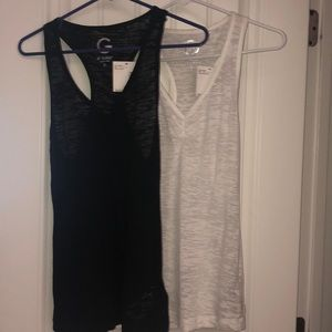 G by Guess black/white small tank tops